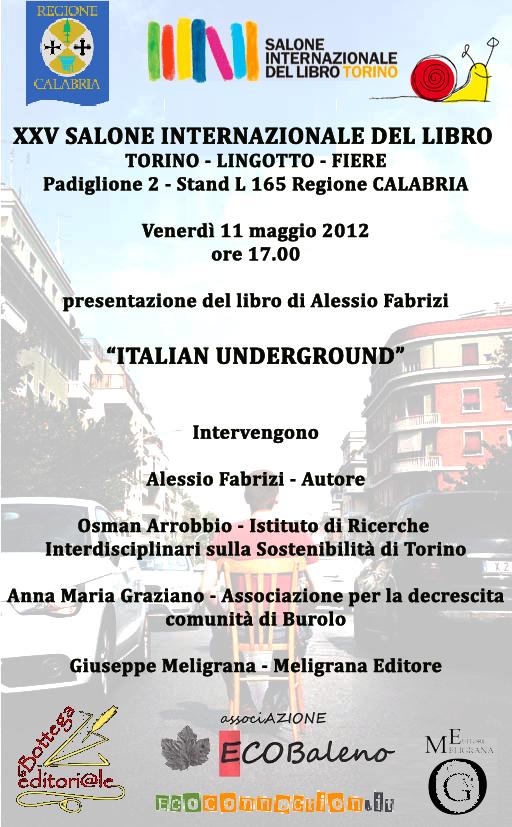 Italian underground, il romanzo di Alessio Fabrizi, al XXV Salone internazionale del libro di Torino